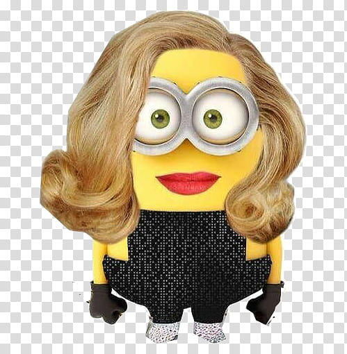 Minion with blonde wavy hair meme transparent background PNG.
