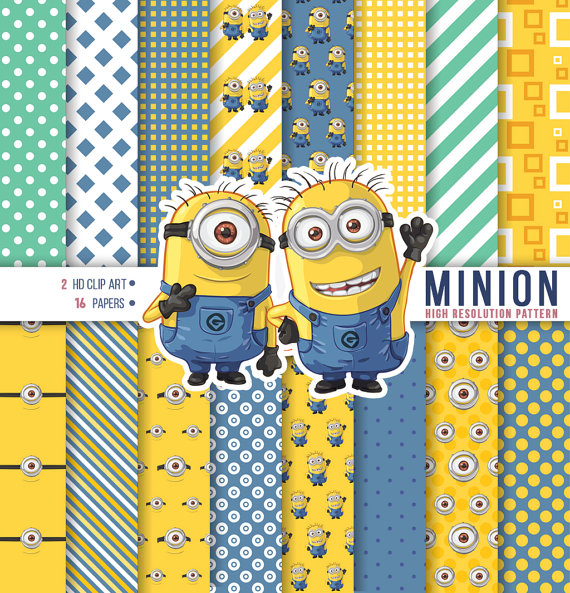 Minion Hand Drawing Clipart, Minion Digital Paper, Happy birthday.