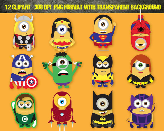 12 Despicable Me Minions Superhero Clipart , Disney ,Digital.