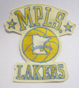 Details about MINNEAPOLIS LAKERS PATCH NBA BASKETBALL STITCH VINTAGE RETRO  VTG LOGO LEATHER.