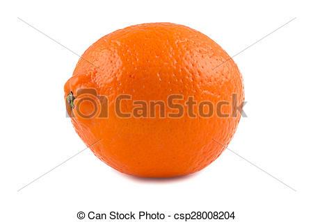 Stock Photography of Photo of orange ripen minneola on white.