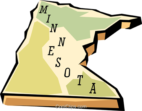 Minnesota state map Royalty Free Vector Clip Art.