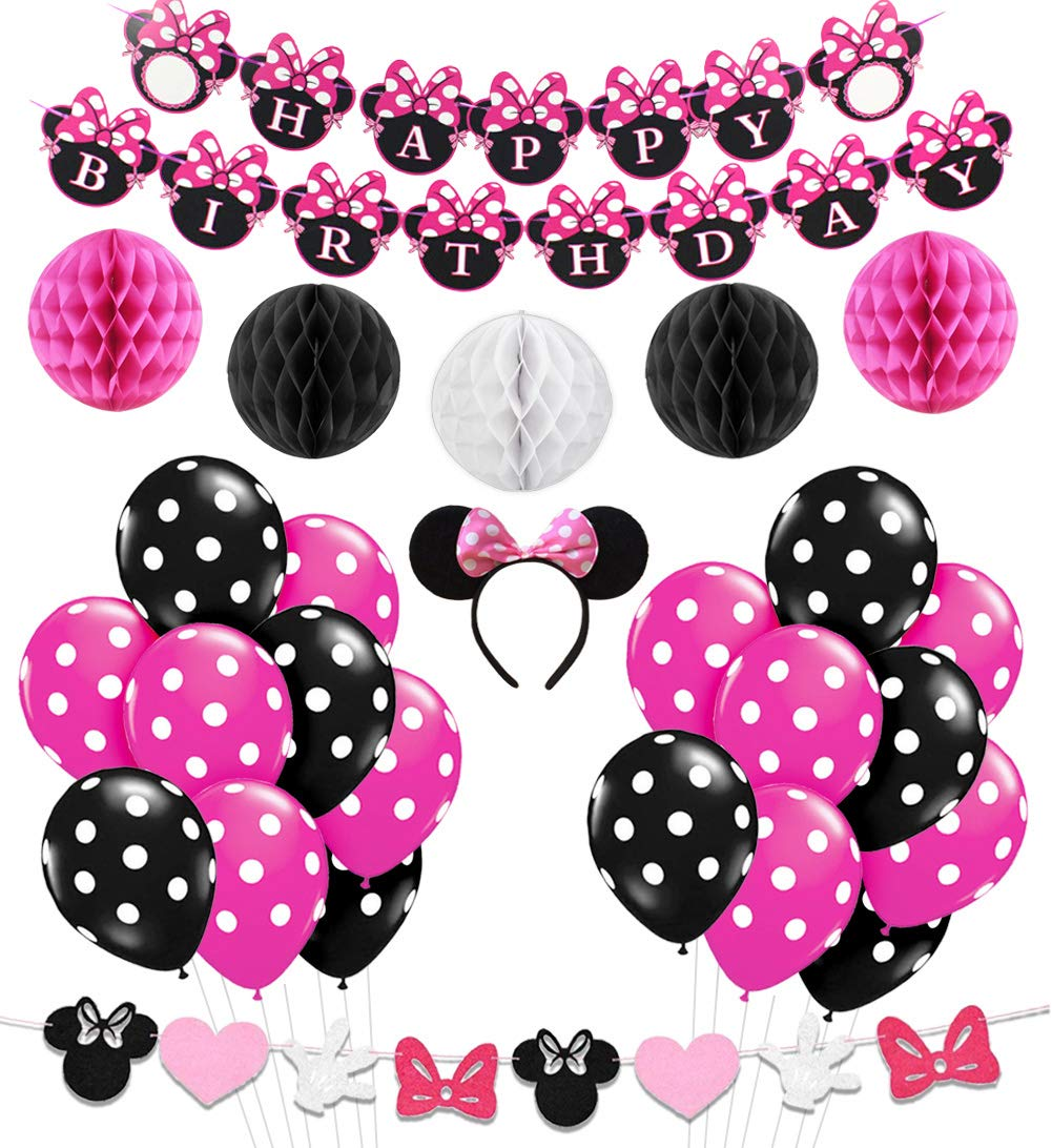 Minnie Mouse Party Decorations Supplies Pink Minnie Ears Birthday Banner  Garland for Girls 1st 2nd Birthday Decorations.