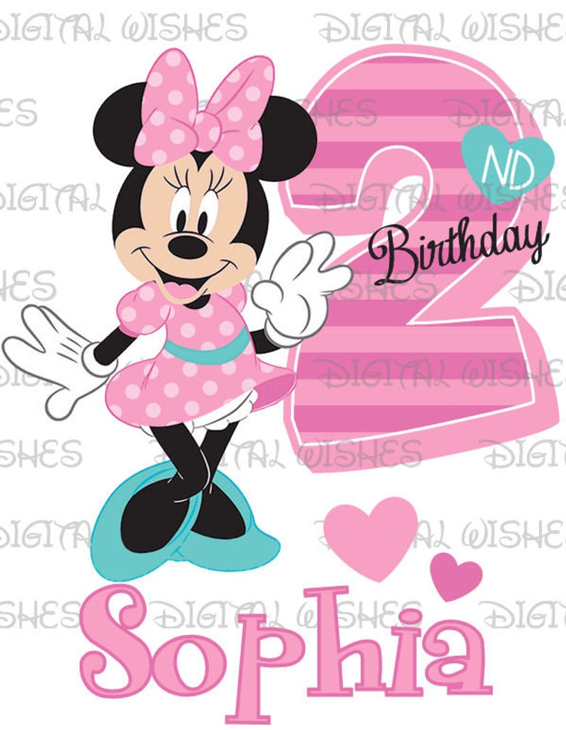 Minnie Mouse 2nd Birthday Image PERSONALIZED name digital iron on transfer  clip art DIY for Shirt.
