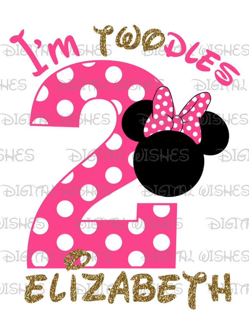 Minnie Mouse head ears I'm twodles second Birthday Image PERSONALIZED name  digital iron on transfer clip art DIY for Shirt.