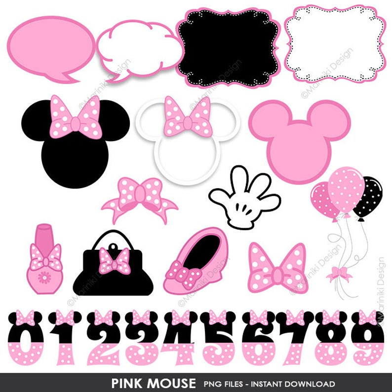 Minnie Mouse Inspired Clipart Elements, Cute Baby Clip Art, Girls Birthday  Party Invitations Scrapbook INSTANT DOWNLOAD CLIPARTS C65.