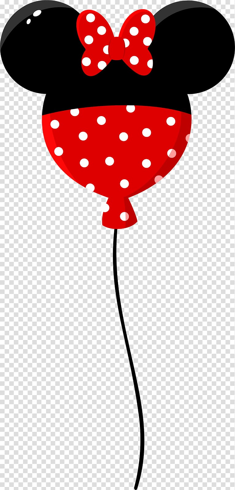 Black and red Minnie Mouse balloon, Mickey Mouse Minnie.