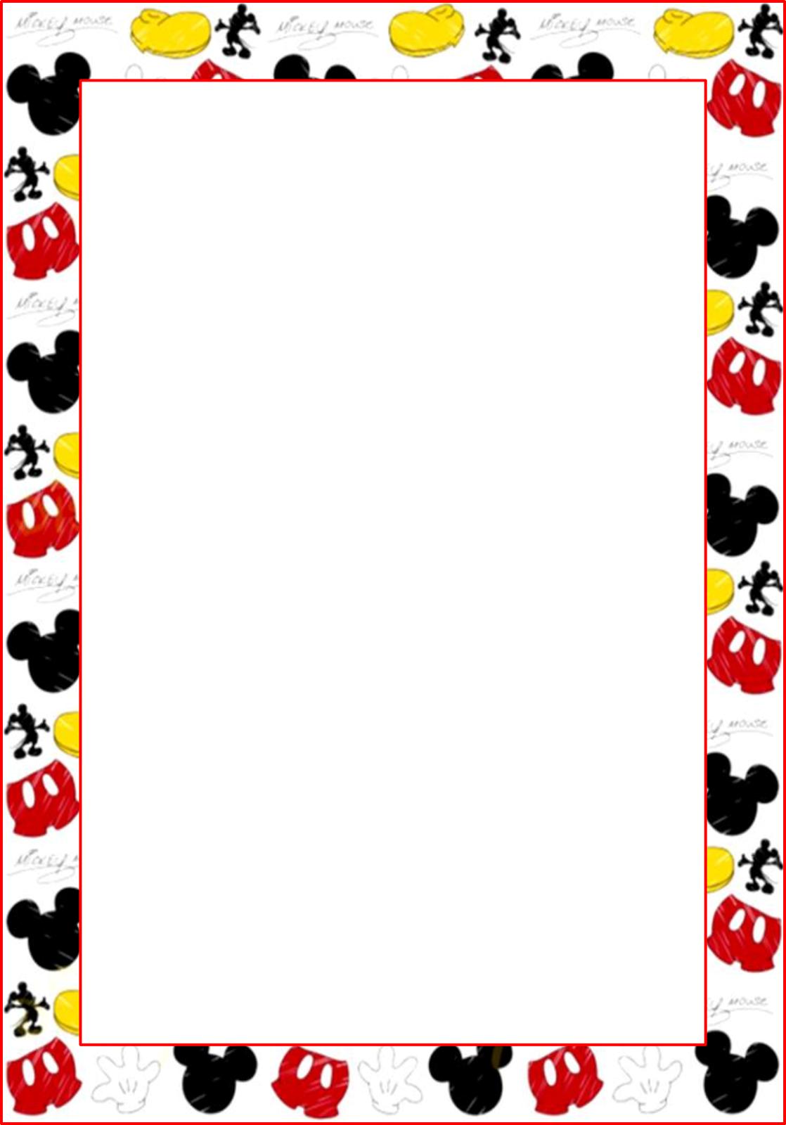 Marcos, Invitaciones, Tarjetas o Etiquetas de Mickey Mouse.