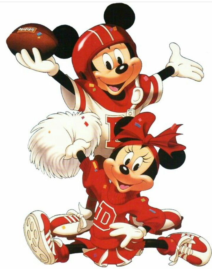 Football Mickey w/ Cheerleader Minnie.