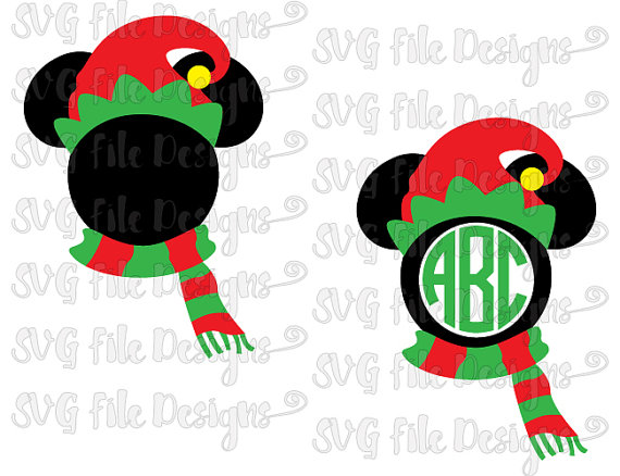 Mickey Mouse Elf Hat and Scarf Disney Layered Monogram Cut File.
