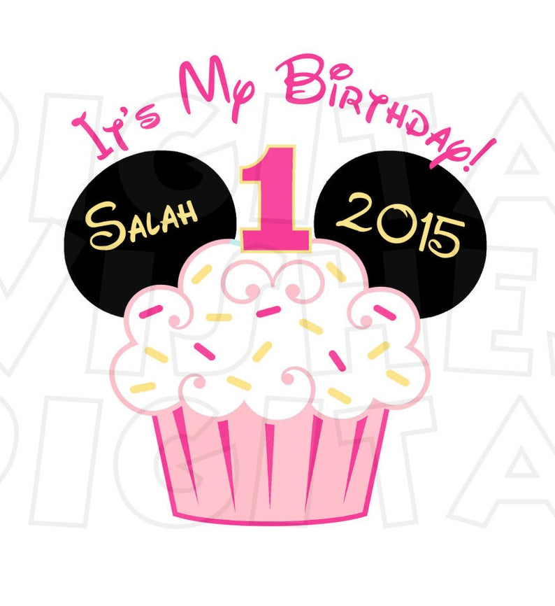 Baby Minnie Mouse Cupcake 1st Birthday Image PERSONALIZED name digital iron  on transfer clip art DIY for Shirt.