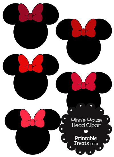 Minnie Mouse Head Clipart with Red Bows from PrintableTreats.com.