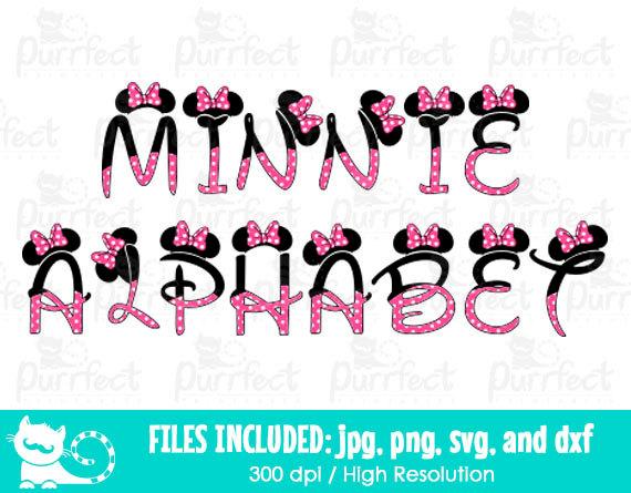 Minnie Mouse Alphabet Font SVG Minnie Mouse Letters SVG.