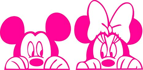 Mickey Mouse & Minnie Mouse Peeking Through Auto Car Window Vinyl Decal  Sticker Bumper Sticker Stick Family All Weather 4 Seasons 15\