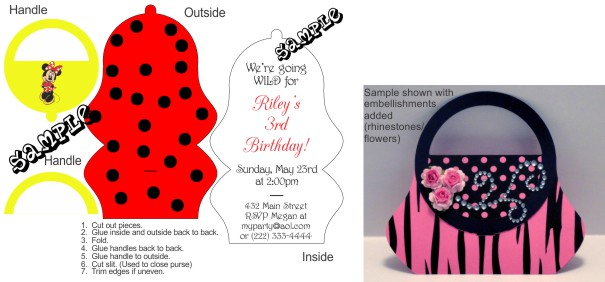Minnie Mouse Purse Birthday Invitations.