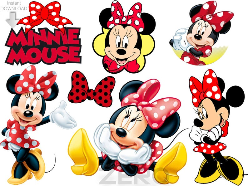 50 Minnie Mouse, Red Minnie Clipart, Instant Download, Printable Iron On  Transfer or Use as Clip Art, 72.