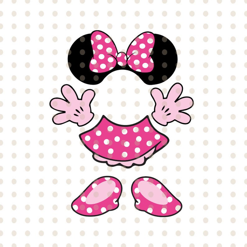 Minnie mouse Body SVG Short, head shoes gloves disney svg Png Dxf  Silhouette Cameo Cricut MInnie clipart, Minnie parts SVG Cut files Layered.