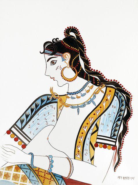 Minoan wall Fresco of The Saffron Gatherers (detail) 1650 BC.
