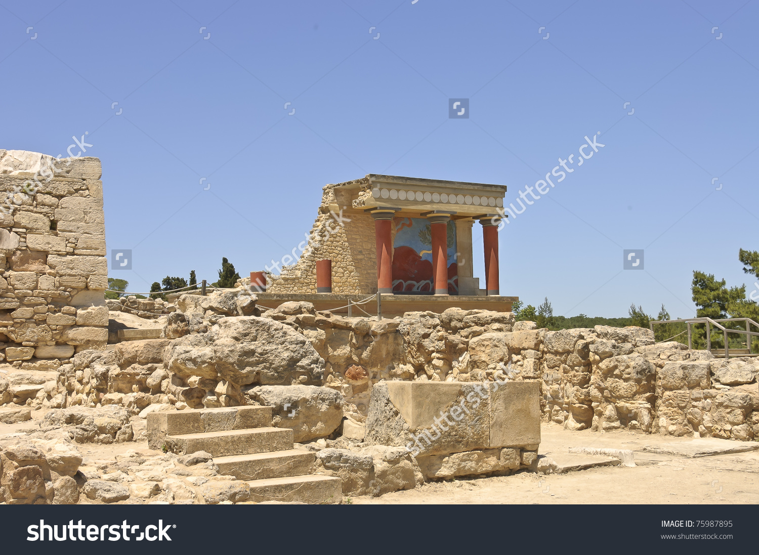 Knossos Palace Center Minoan Civilization Culture Stock Photo.