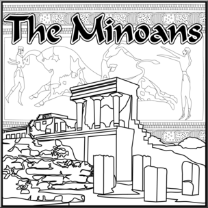 Clip Art: Ancient Civilizations: The Minoans B&W.