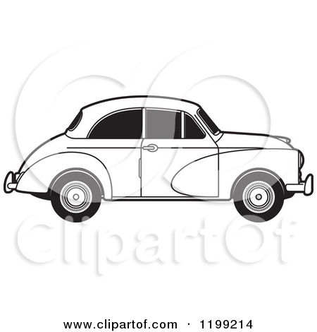 Clipart of a Vingage Black and White Morris Minor Car with Tinted.