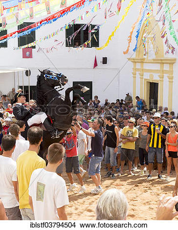 "Stock Photo of ""Rising horse at the Sant Bartomeu Festival."