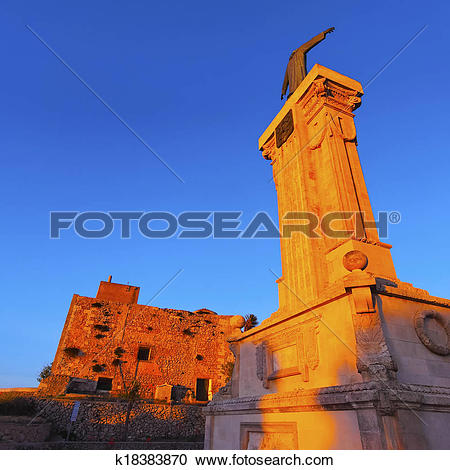 Stock Photography of Christ Monument in front of El Toro Monastery.