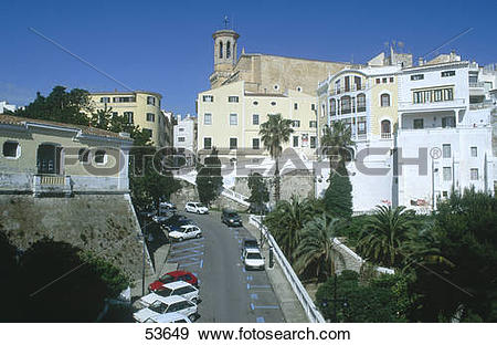 Stock Photograph of Cars on road in town, Mahon Menorca, Minorca.