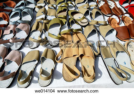 Stock Photo of Traditional Minorcan shoes Albarques. Menorca.
