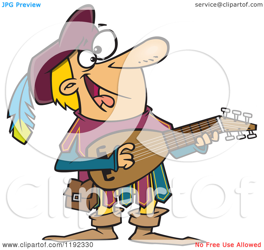Cartoon of a Happy Minstrel Playing an Instrument.