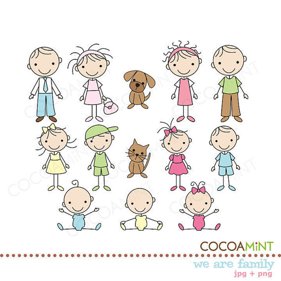 We are Family Stick Figures Clip Art by Cocoa Mint.