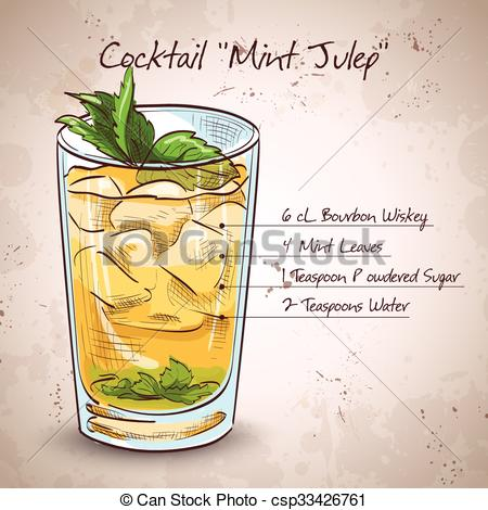Clip Art Vector of Cocktail Mint julep.