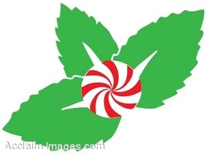 Mint Candy and Leaves Clip Art.