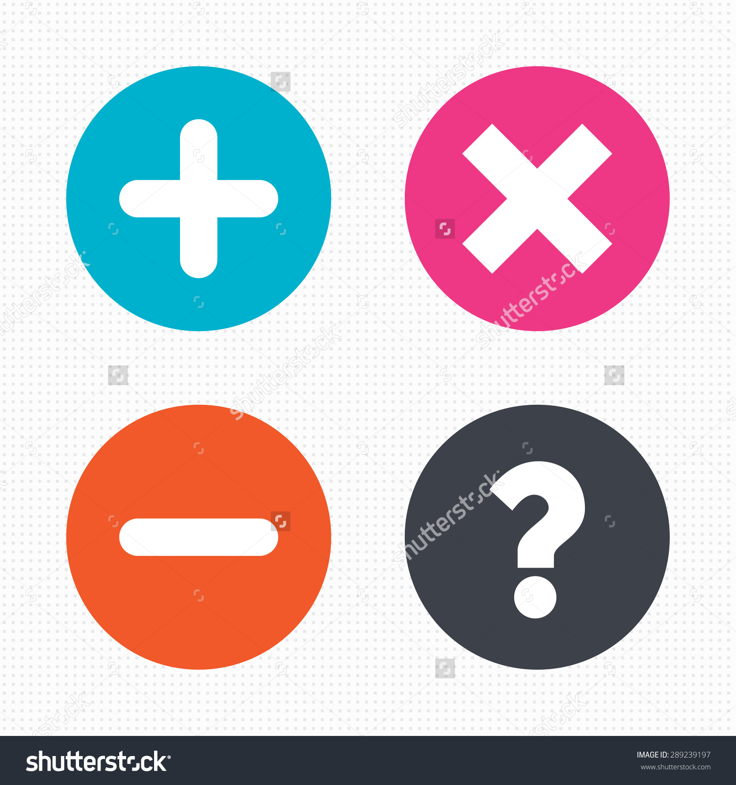 Circle Buttons Plus Minus Icons Delete Stock Vector 289239197.