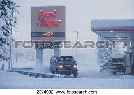 Stock Photo of Grocery store sign thermometer showing minus 47.