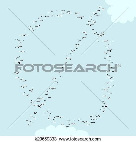 Drawing of Bird Formation In Minuscule O k29659333.