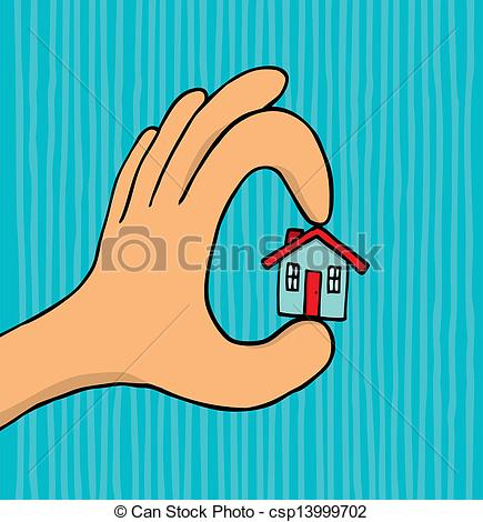 Vector Clipart of Hand holding tiny house csp13999702.