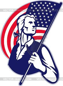 Patriot Minuteman With American Stars and Stripes.