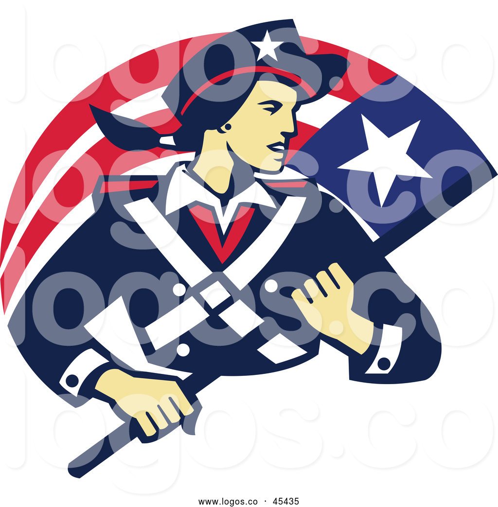 Logo of a Patriot Minuteman Revolutionary Soldier Carrying a.