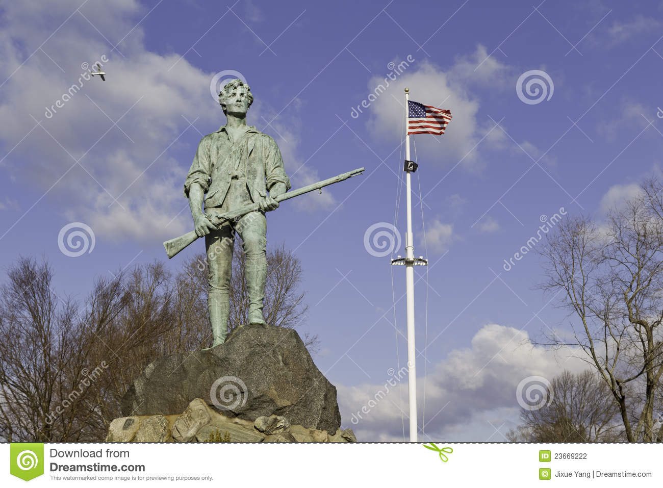 Minuteman Statue And Us Flag Stock Photography Image 23669222.