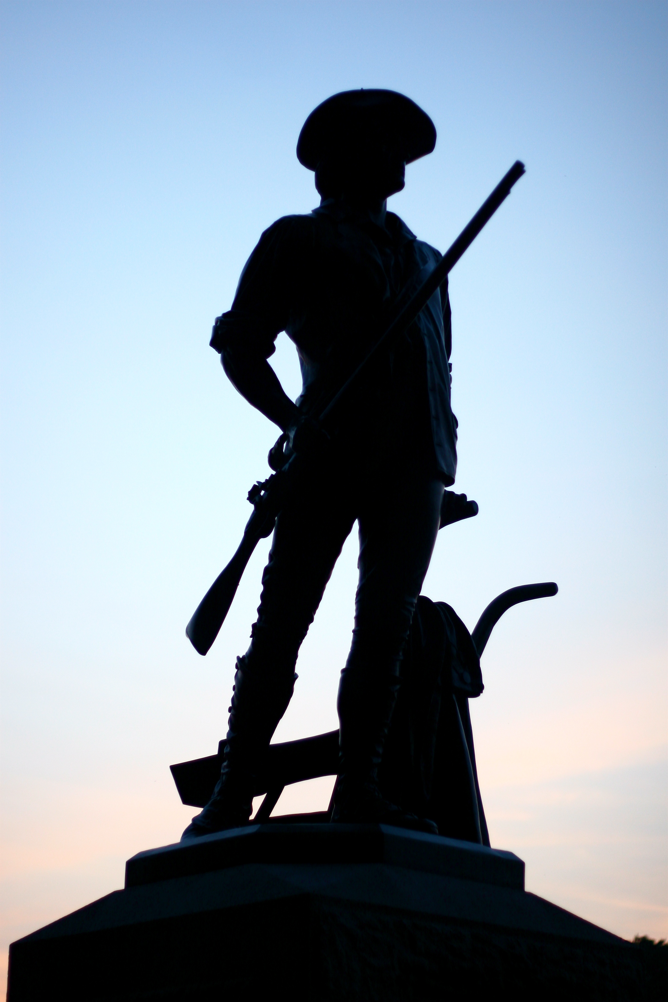 Minuteman statue at sunset.