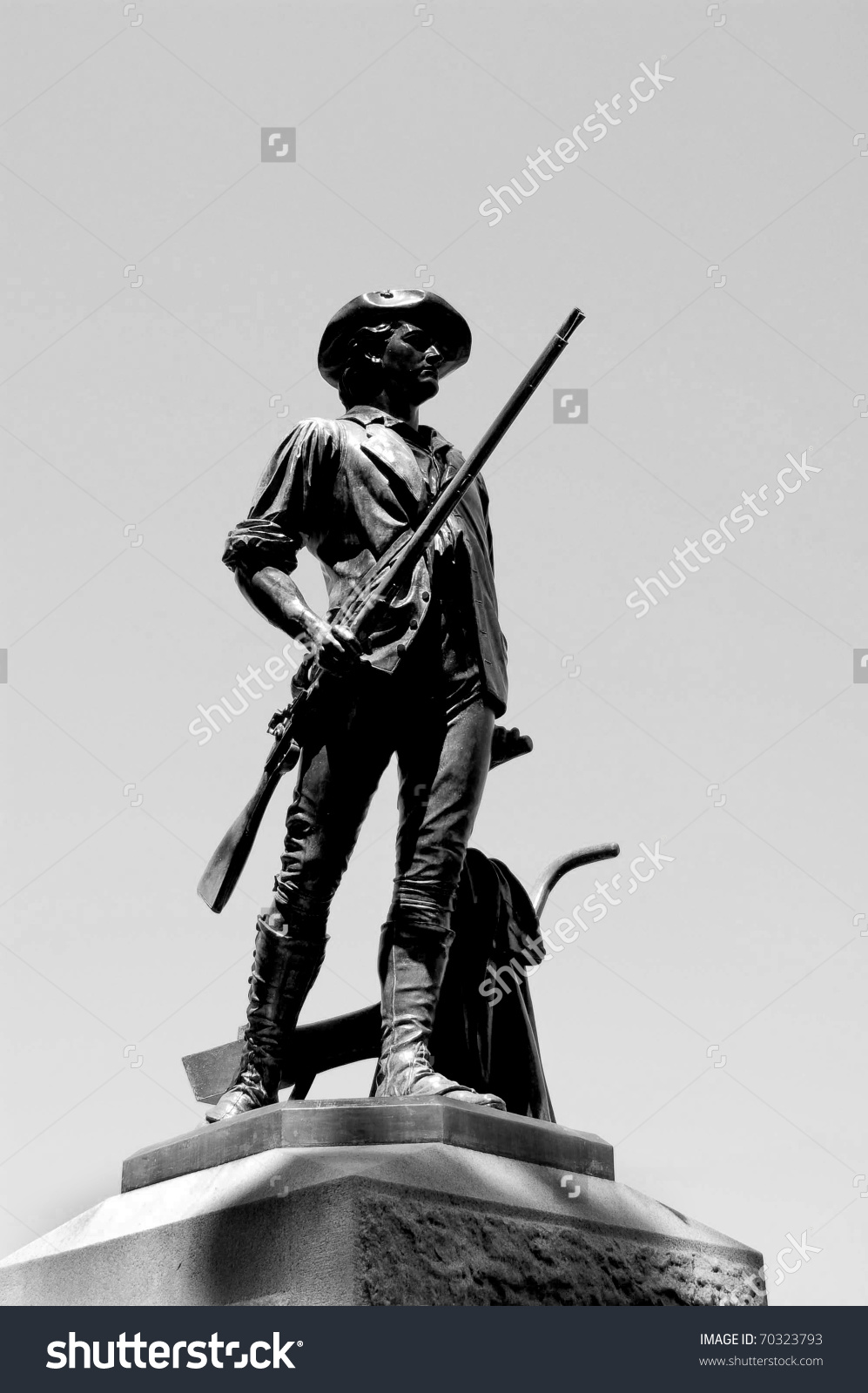 Bronze Statue Minuteman Concord Ma Sculpted Stock Photo 70323793.