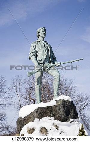 Stock Photograph of Revolutionary War, Lexington Minuteman Statue.