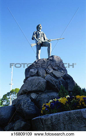 Stock Photograph of Minuteman Statue, Boston x16809109.