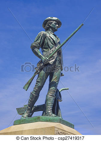 Stock Photography of Minuteman statue, Concord, MA. USA.