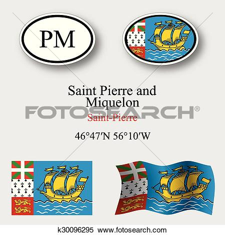 Clipart of saint pierre and miquelon icons set k30096295.