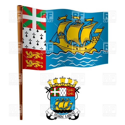 Saint Pierre and Miquelon flag and coat of arms Vector Image.