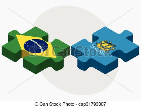 Vector Clipart of Brazil and Saint Pierre and Miquelon Flags in.