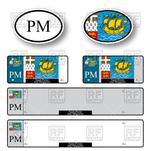 Template of car plate number with flag of Saint Pierre and.