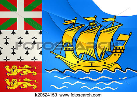 Drawing of Flag of Saint Pierre and Miquelon, France. k20624153.